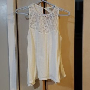 Paper Crane sheer tank with lace-like detailing